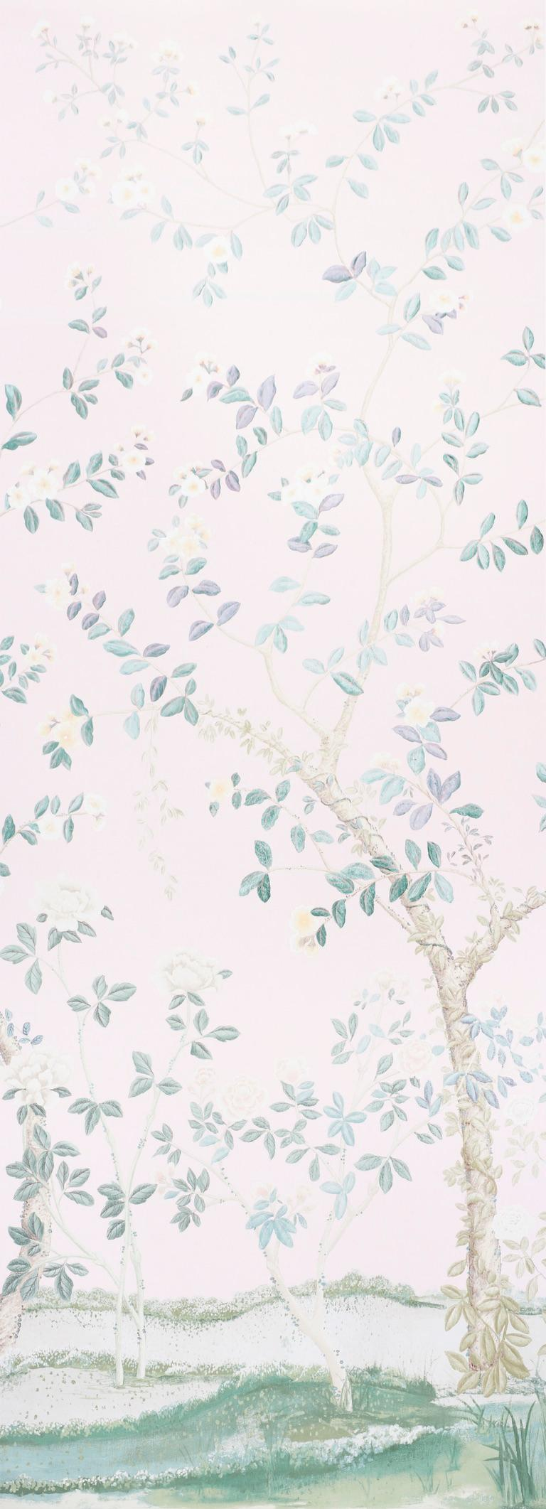 English Garden meets chinoiserie in this stunning design, in collaboration with Miles Redd. Originally drawn to scale on French canvas, this vast floral pattern is comprised of two 12' foot panels.