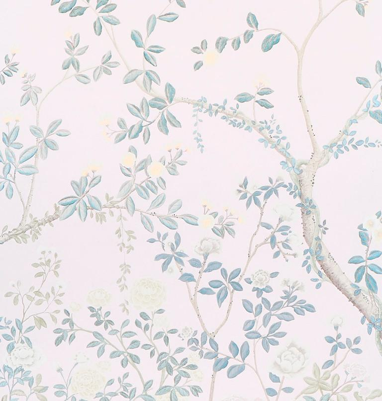 Chinoiserie Schumacher Miles Redd Madame de Pompadour Blush Wallpaper Panel Unit For Sale