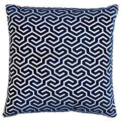"""Schumacher Ming Fret Velvet 18"""" Pillow in Navy"""