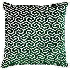 "Schumacher Ming Fret Velvet 20"" Pillow in Emerald"
