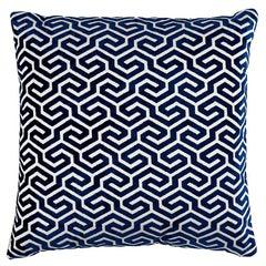 """Schumacher Ming Fret Velvet 20"""" Pillow in Navy"""