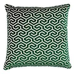 "Schumacher Ming Fret Velvet 22"" Pillow in Emerald"