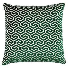 "Schumacher Ming Fret Velvet 24"" Pillow in Emerald"