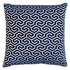 """Schumacher Ming Fret Velvet 24"""" Pillow in Navy"""