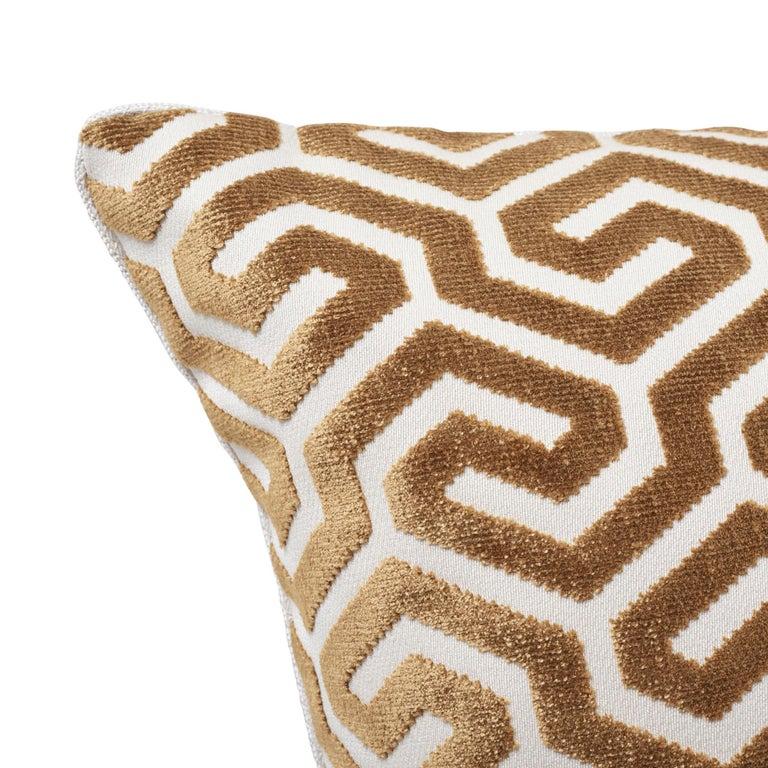 Modern Schumacher Ming Fret Velvet Bronze Two-Sided Cotton Pillow For Sale
