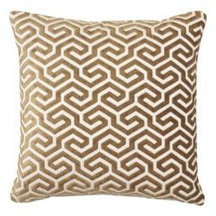 Schumacher Ming Fret Velvet Bronze Two-Sided Cotton Pillow