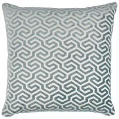 Schumacher Ming Fret Velvet Pillow in Mineral