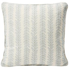 Schumacher Modern Classic Woodperry Woven Blue Two-Sided Linen Pillow