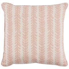 Schumacher Modern Classic Woodperry Woven Pink Two-Sided Linen Pillow