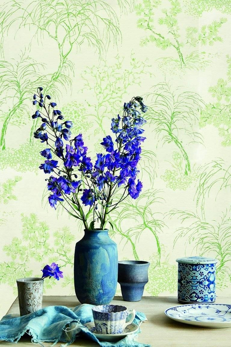 Schumacher Mori Sisal Textured Floral Porcelain Blue Wallpaper, Two ...