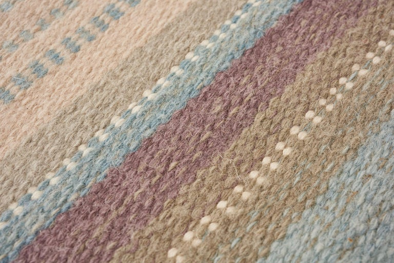 Contemporary Schumacher Morning Sky Area Rug in Handwoven Wool Cotton Patterson Flynn Martin For Sale