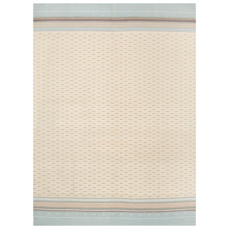 Schumacher Morning Sky Area Rug in Handwoven Wool Cotton Patterson Flynn Martin For Sale