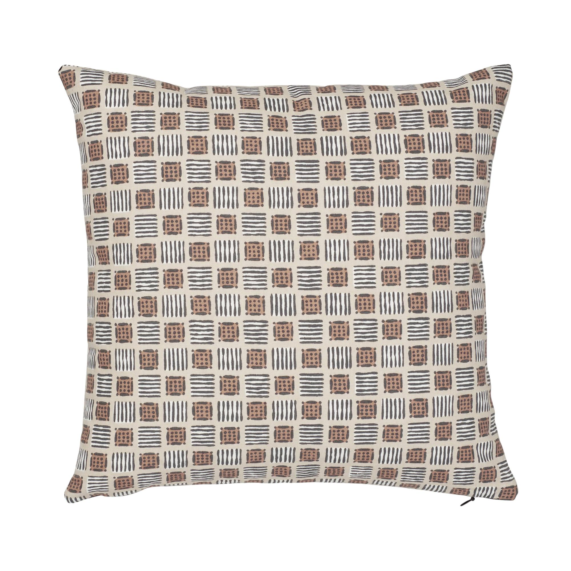 Schumacher Mottley Grid Wren Cotton Linen Pillow