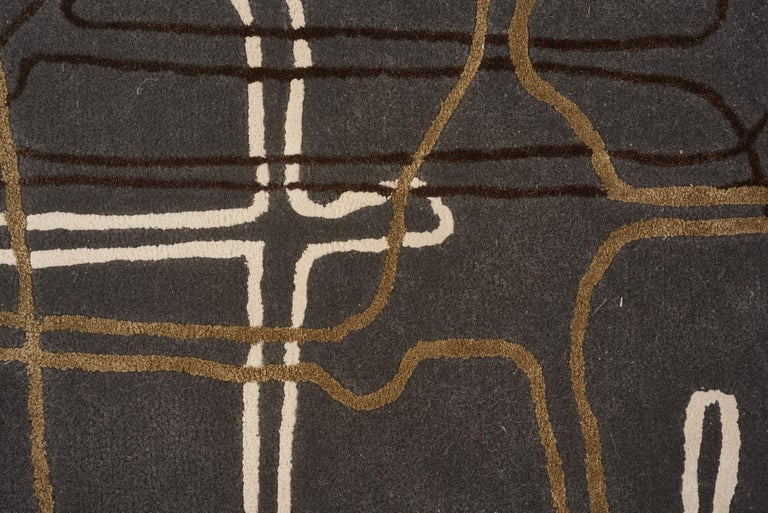 Modern Schumacher Movement Abstract Area Rug in Wool Silk, Patterson Flynn Martin For Sale