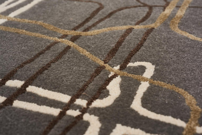 Chinese Schumacher Movement Abstract Area Rug in Wool Silk, Patterson Flynn Martin For Sale