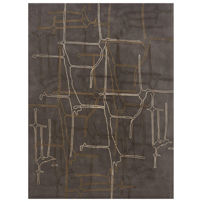 Schumacher Movement Abstract Area Rug in Wool Silk, Patterson Flynn Martin For Sale