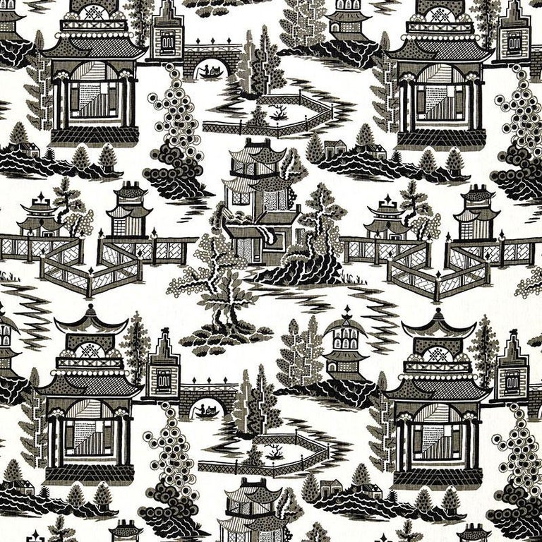 Schumacher Nanjing Modern Chinoiserie Porcelain Blue Two-Sided 18