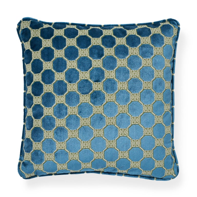 Belgian Schumacher Octavia Velvet Peacock Two-Sided Pillow For Sale