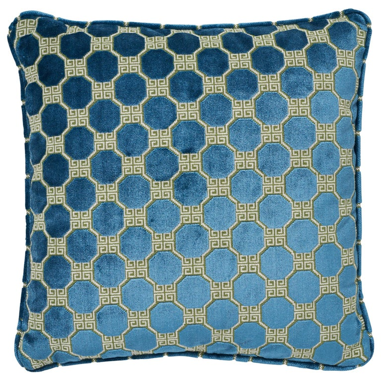 Schumacher Octavia Velvet Peacock Two-Sided Pillow For Sale