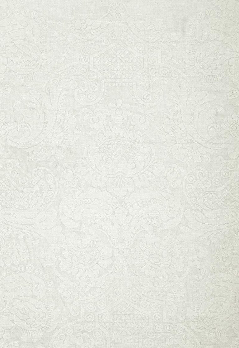 Romantic Schumacher Padova Ivory White Silk Damask Textile, Luxury Upholstery Fabric For Sale