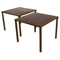 Schumacher Pair of Mid-Century Brass Side Tables with Inset Wood Tops