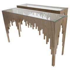 Schumacher Pair of Mid-Century Tubular Chrome Console Tables with Glass Tops