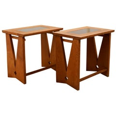 Schumacher Pair of Oak Side Tables by Guillerme & Chambron, Votre Maison Edition