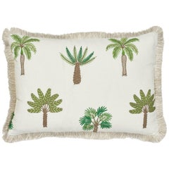 Schumacher Palmetto Beach Embroidery Green Two-Sided Linen Pillow