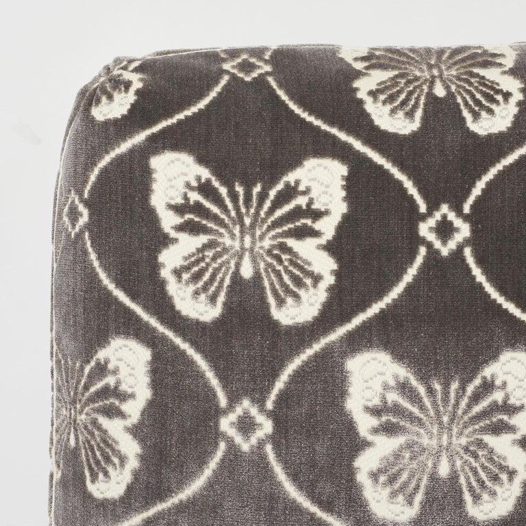 Modern Schumacher Papillion Velvet Pewter Two-Sided Pillow For Sale