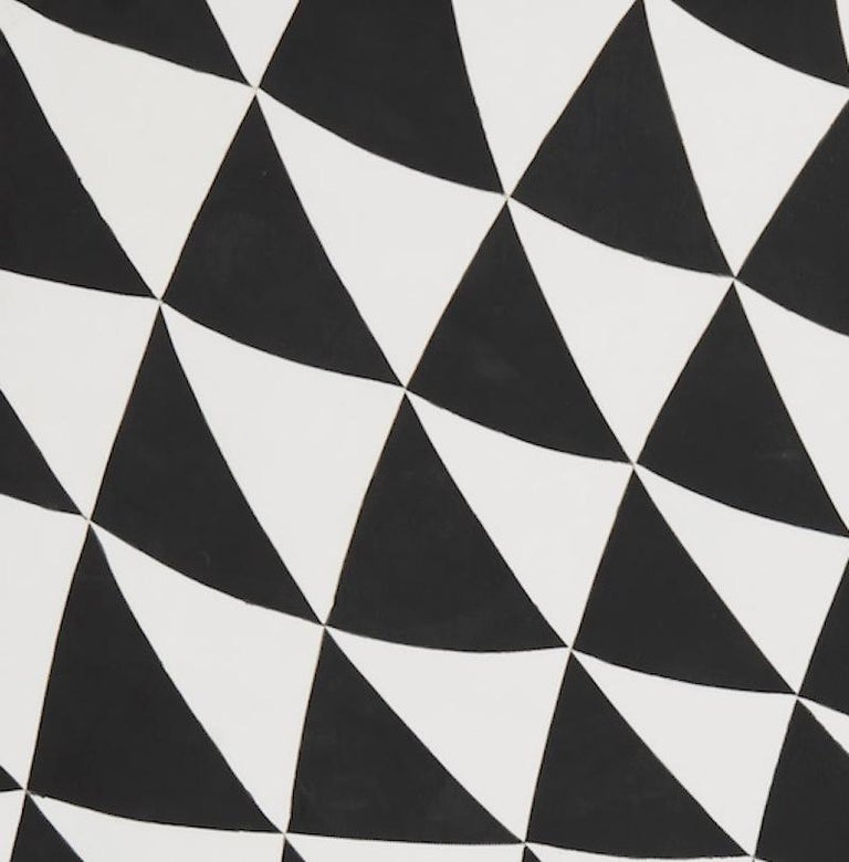 Hand-Crafted Schumacher Patterson Flynn Martin Astraire Handstitched Leather Geometric Rug For Sale