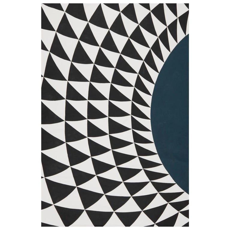 Schumacher Patterson Flynn Martin Astraire Handstitched Leather Geometric Rug For Sale