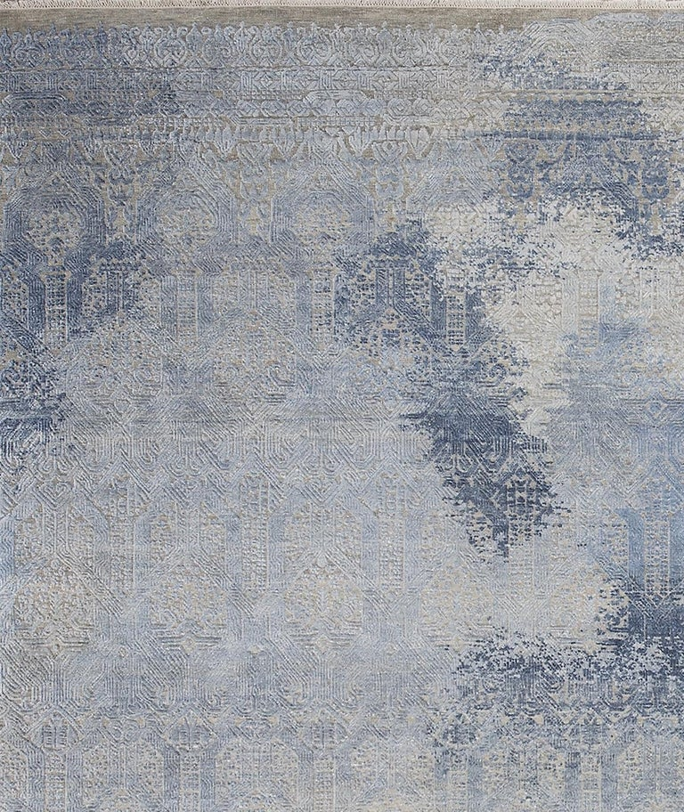 Indian Schumacher Patterson Flynn Martin Badal Hand Knotted Wool Silk Modern Rug For Sale
