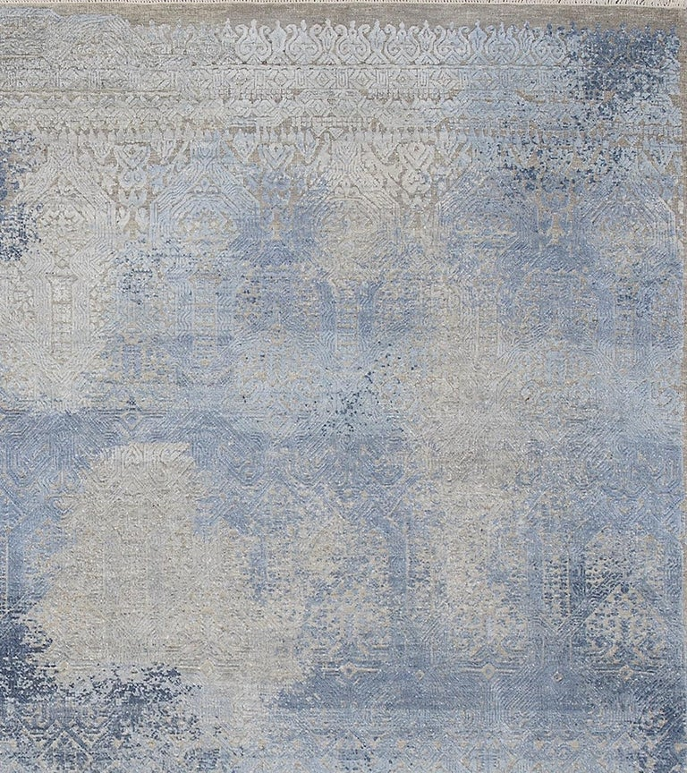 Hand-Knotted Schumacher Patterson Flynn Martin Badal Hand Knotted Wool Silk Modern Rug For Sale