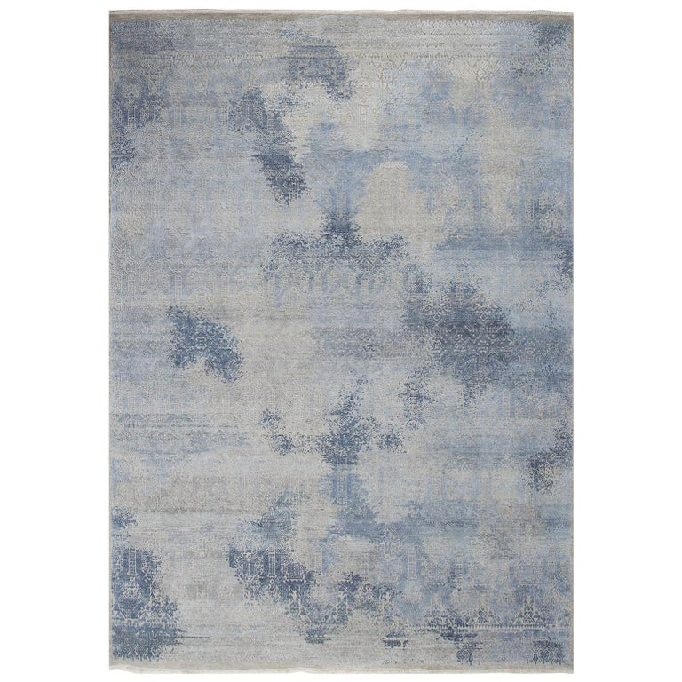 Schumacher Patterson Flynn Martin Badal Hand Knotted Wool Silk Modern Rug For Sale