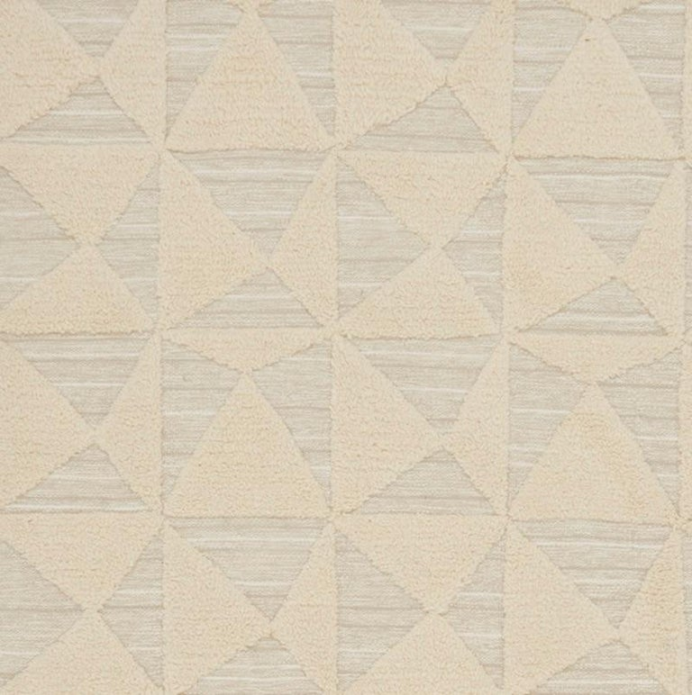 Hand-Woven Schumacher Patterson Flynn Martin Gerrits Handwoven Wool Silk Geometric Rug For Sale