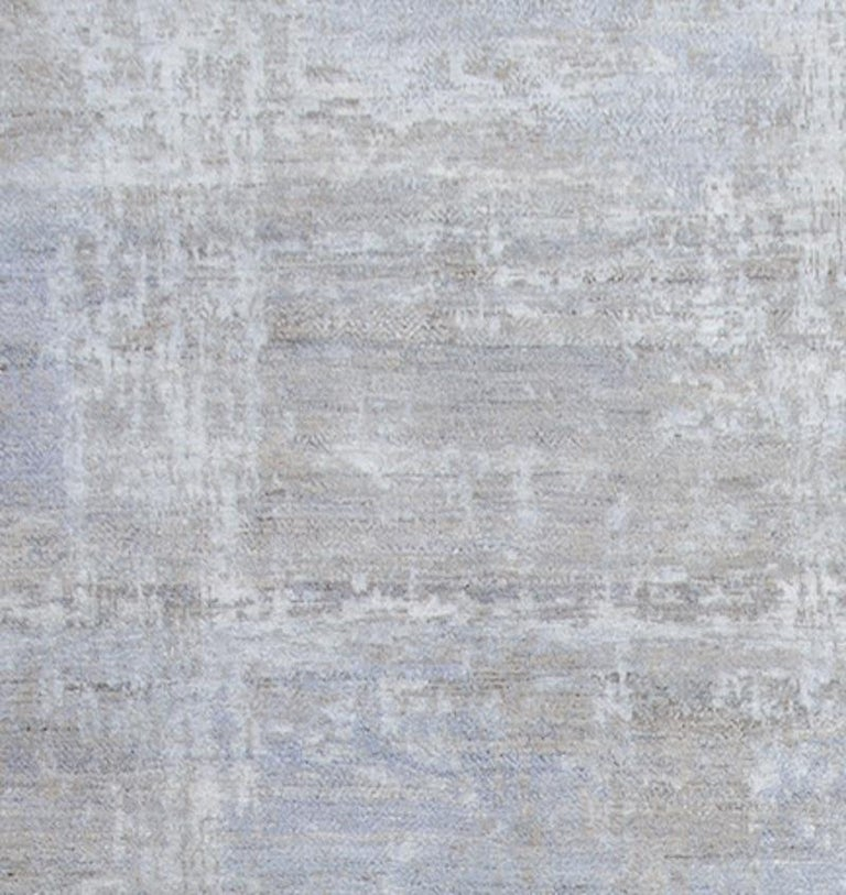 Indian Schumacher Patterson Flynn Martin Midori Hand Knotted Wool Silk Modern Rug For Sale