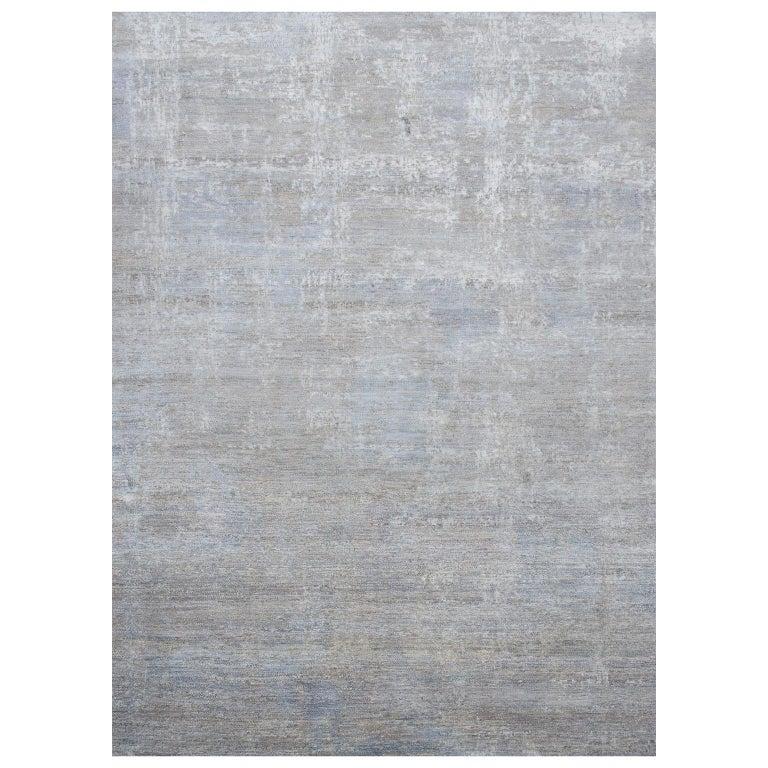 Schumacher Patterson Flynn Martin Midori Hand Knotted Wool Silk Modern Rug For Sale