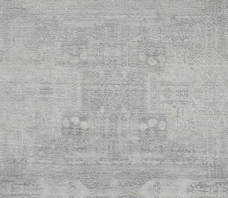 Hand-Knotted Schumacher Patterson Flynn Martin Wasabi Hand Knotted Wool Silk Modern Rug For Sale