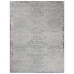 Schumacher Patterson Flynn Martin Wasabi Handgeknüpfter moderner Teppich aus Wolle und Seide