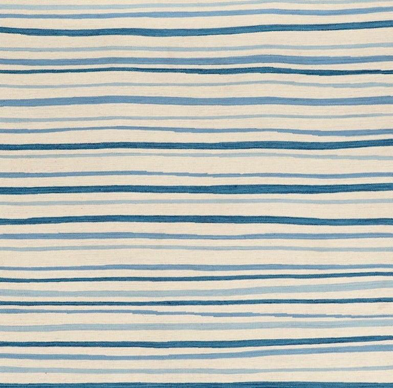 Chinese Schumacher Patterson Flynn Martin Wavy Stripe Kilim Wool Modern Rug For Sale