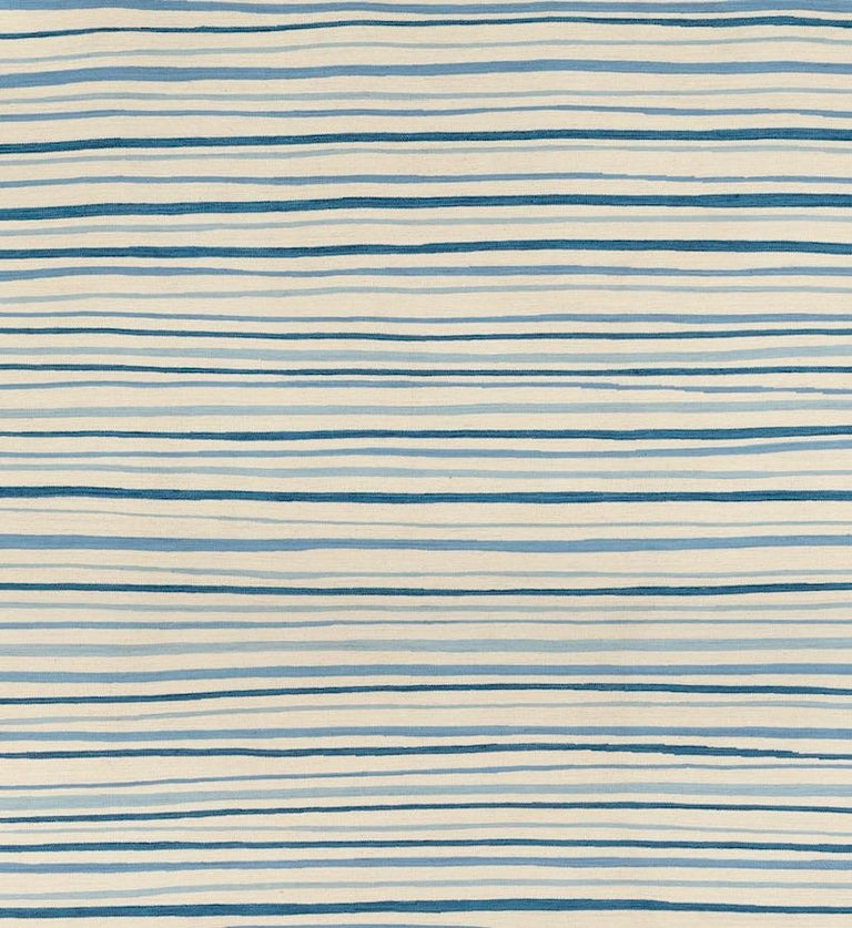 Schumacher Patterson Flynn Martin Wavy Stripe Kilim Wool Modern Rug In New Condition For Sale In New York, NY