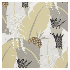 Schumacher Paul Poiret Ananas Neutral Floral Botanical Wallpaper