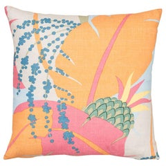 Schumacher Paul Poiret Ananas Tropical Two-Sided Linen Pillow