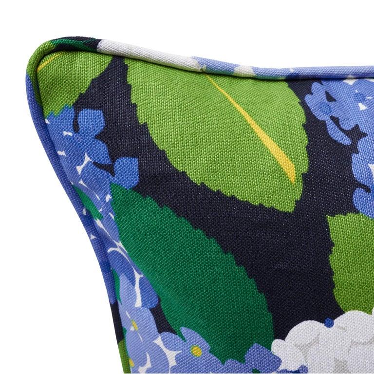 Modern Schumacher Paul Poiret Hydrangea Document Two-Sided Linen Cotton Pillow For Sale
