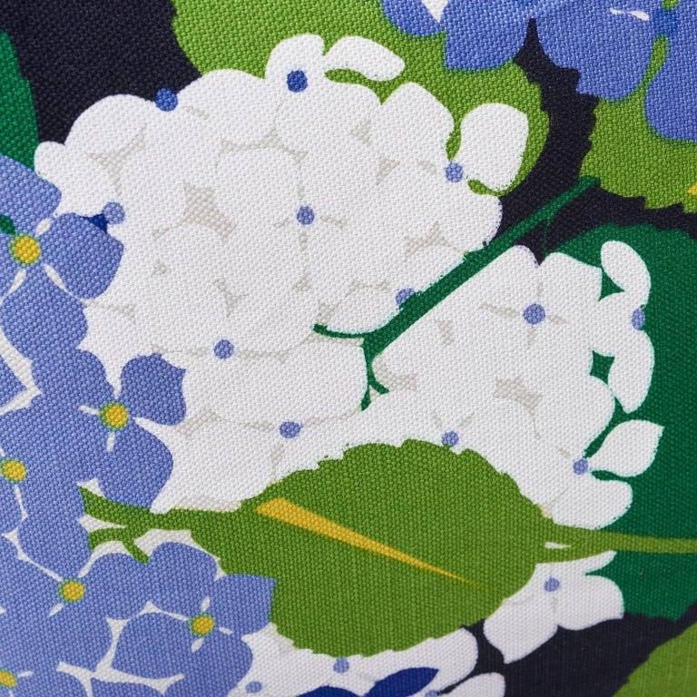 American Schumacher Paul Poiret Hydrangea Document Two-Sided Linen Cotton Pillow For Sale