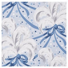 Schumacher Paul Poiret Plumes Et Rubans Wallpaper in Blue