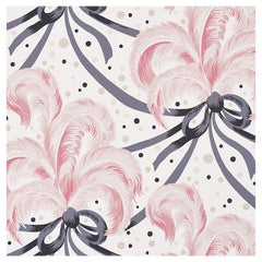 Schumacher Paul Poiret Plumes Et Rubans Wallpaper in Blush