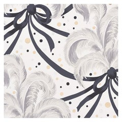 Schumacher Paul Poiret Plumes Et Rubans Wallpaper in Champagne