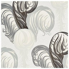 Schumacher Paul Poiret Plumes Wallpaper in Grisaille