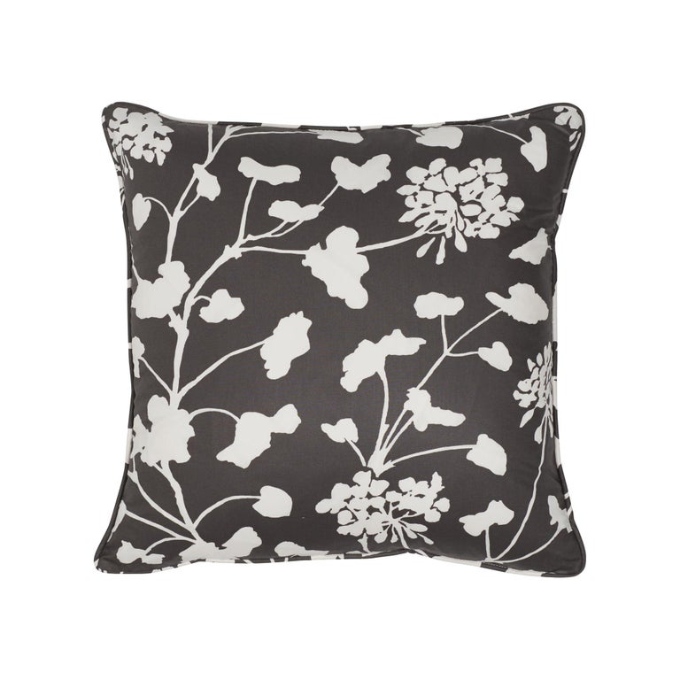 Schumacher Pennick Chintz Black Two-Sided Cotton Pillow For Sale